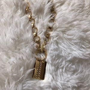 Chunky Gold chain lock pendant